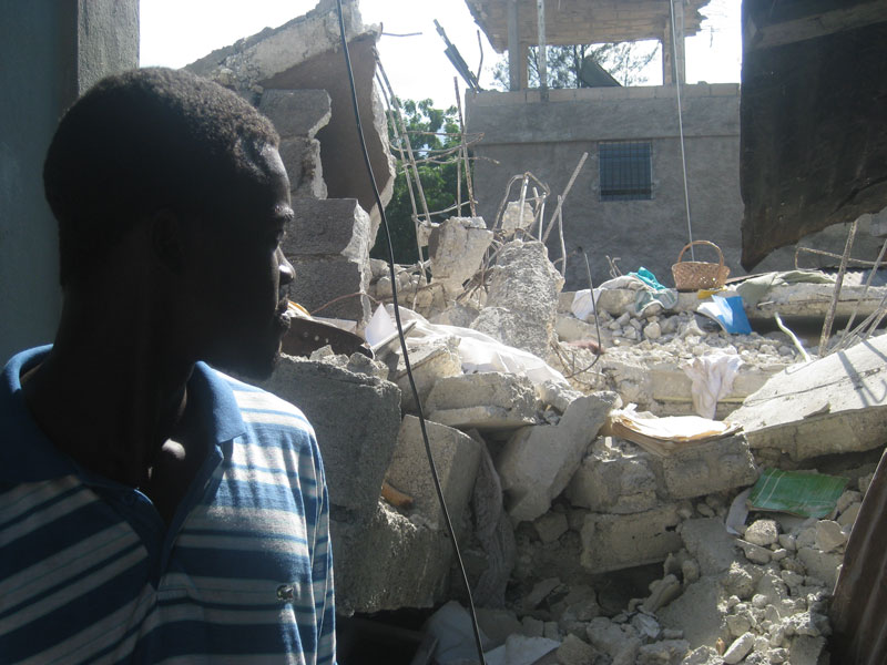 Evans, 24, whos house was destroyed during the earthquake.