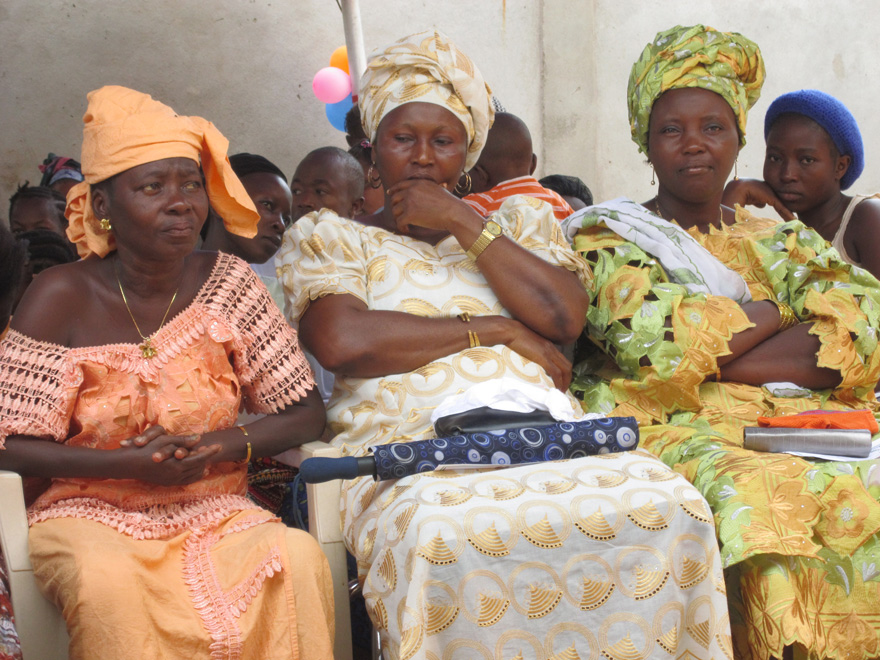Birth attendants at the opening of a health facility.