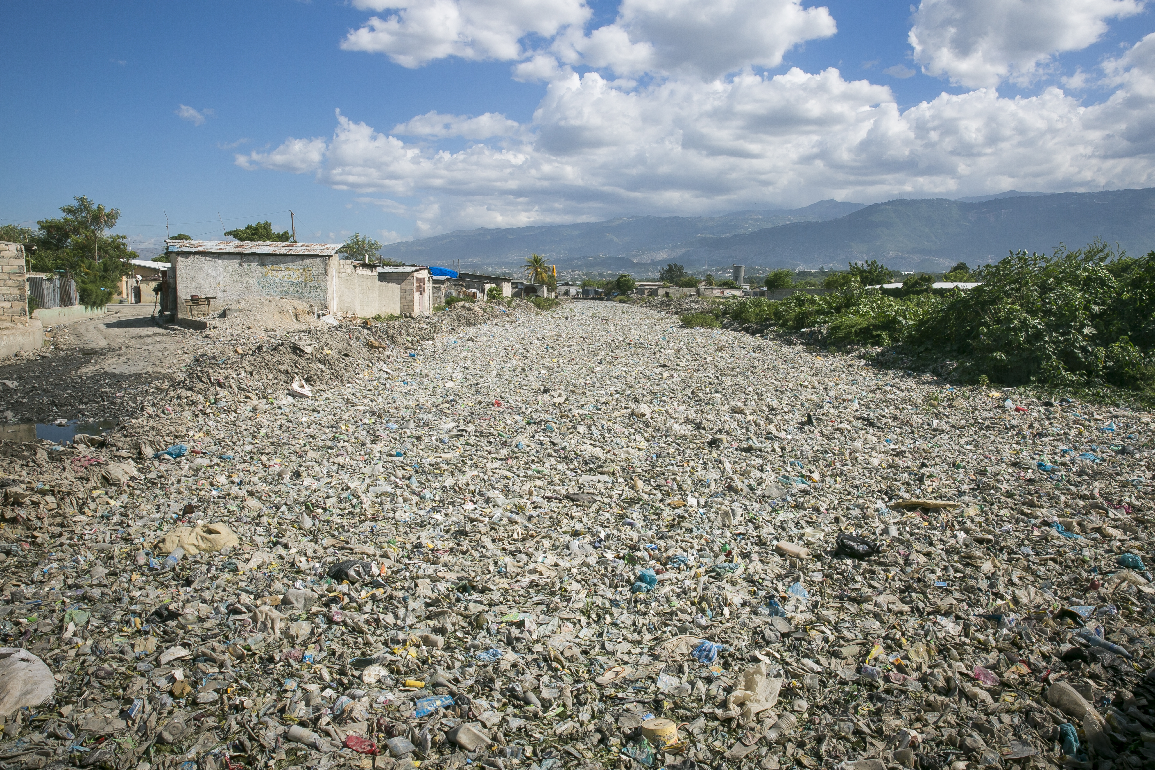 Plastic waste in a waterway in Port au Prince, Haiti.