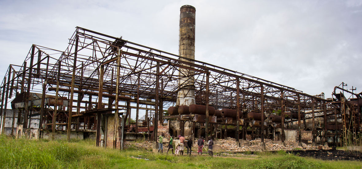 The remains of a former sugar production factory approximately two hours by boat from Chinde; the city, which is now only accessible by motorbike or boat, used to export sugar.
