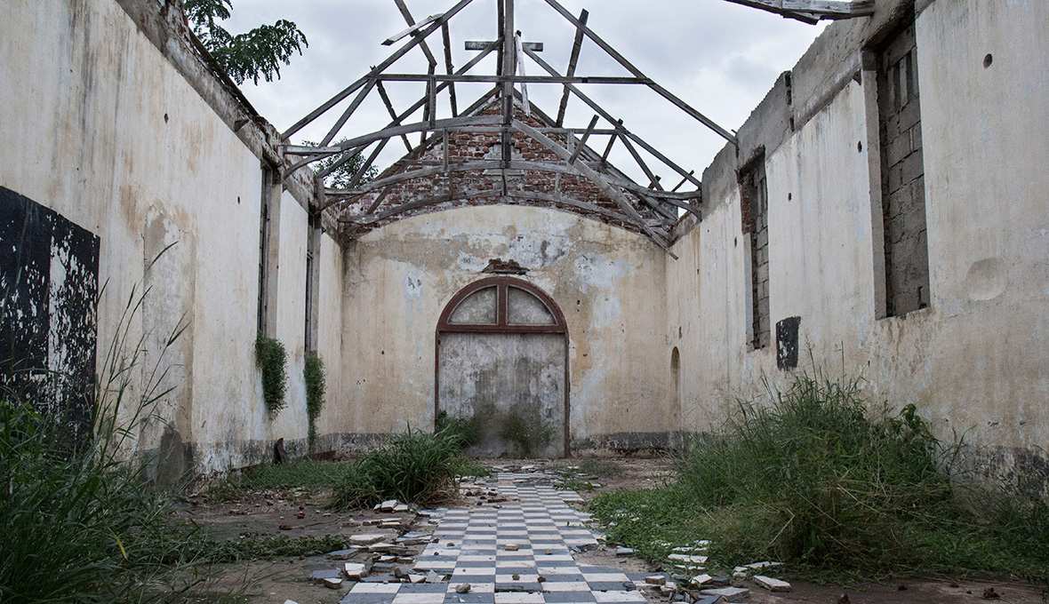 An abandoned church in Chinde, an isolated city on the Zambezi River, that residents say was deserted because of rising water levels.