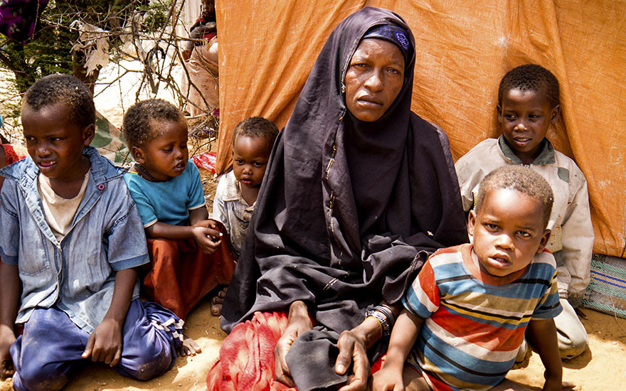 Maey Omar fled to Mogadishu from her village. She lives with her six children.