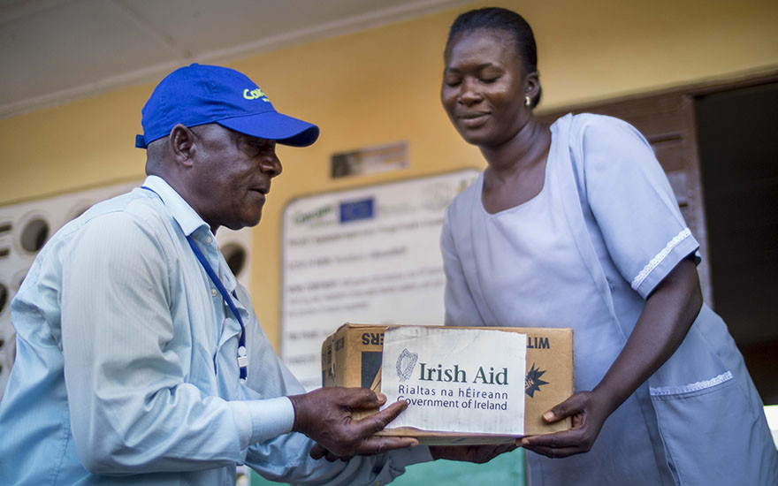 Rashid Moloah of Concern Worldwide delivers part of a consignment of soap contributed by the Irish government.
