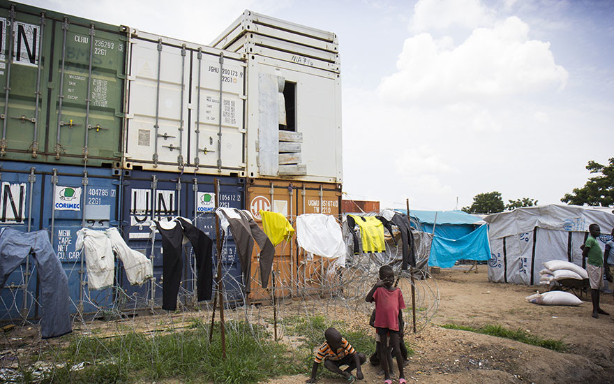 UN containers at Tomping, a UN base that is now home to thousands of internally displaced people