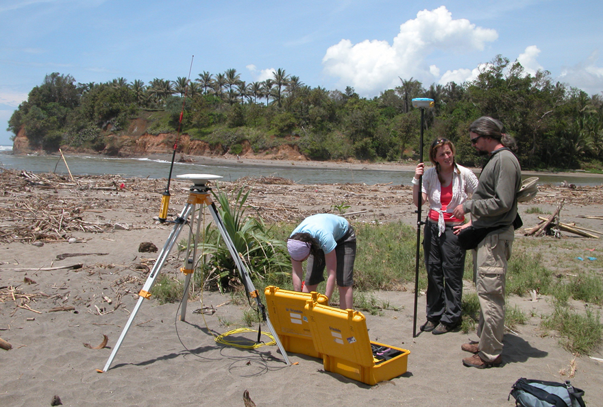 Scientists deploying measurements after the Bengkulu earthquake.