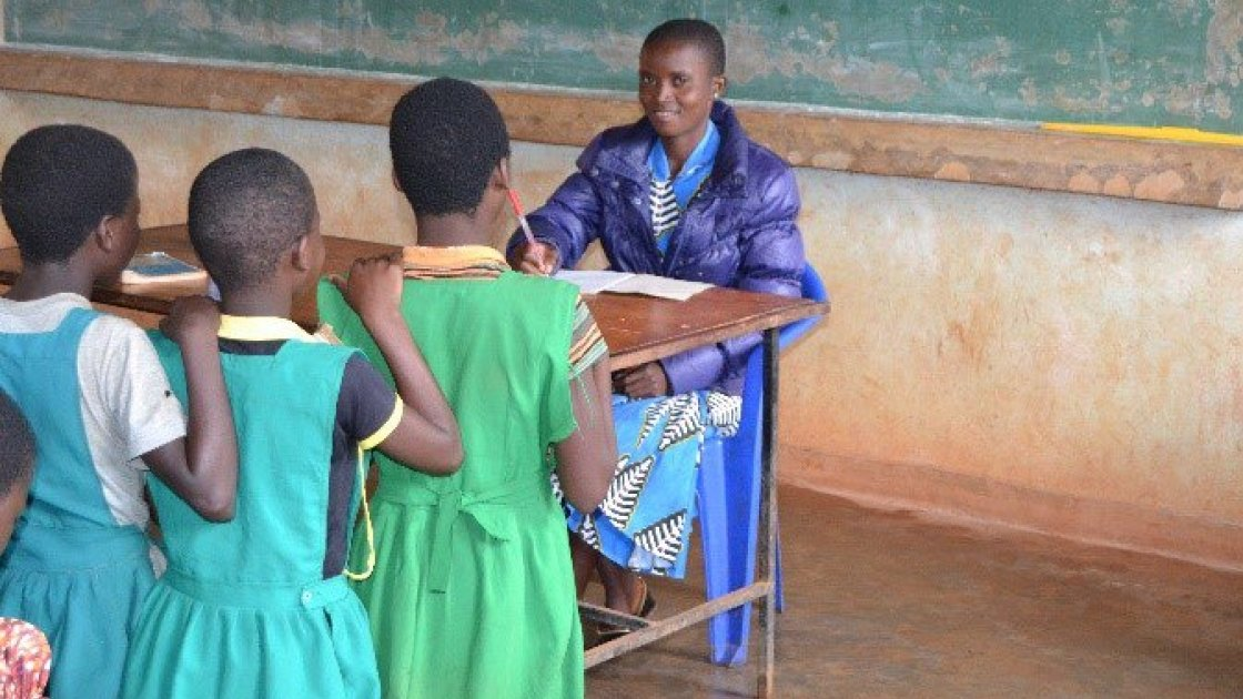 Girls lines up in a school classroom in Malawi