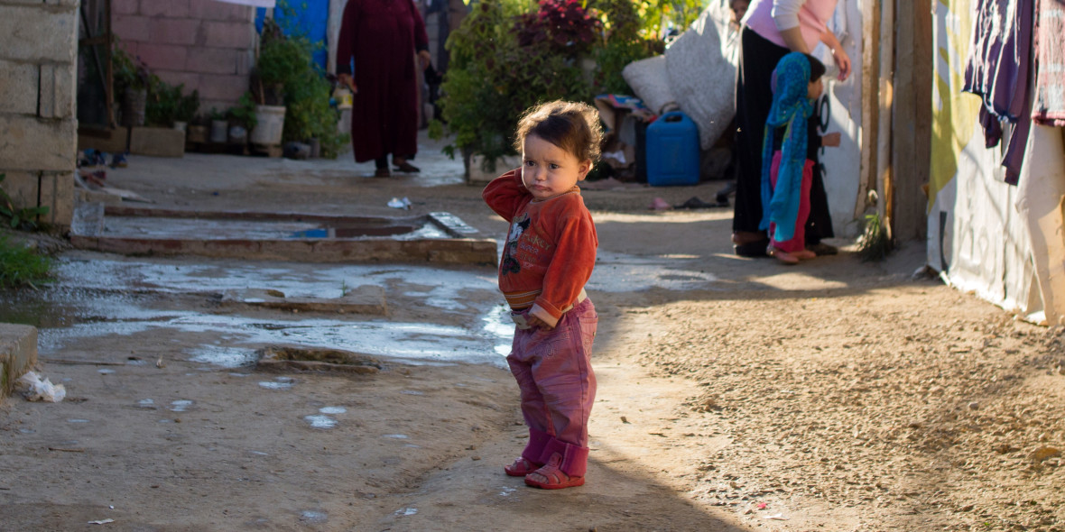A Syrian child living in an informal settlement near the city of Halba in Northern Lebanon.