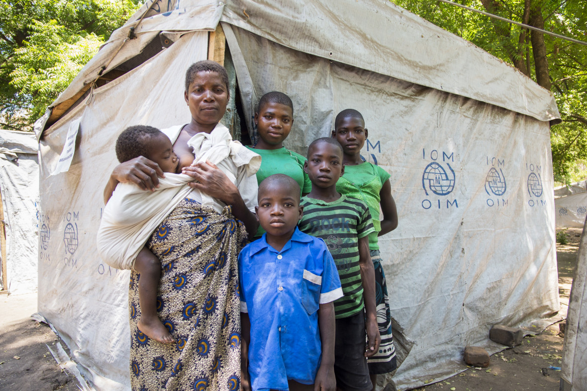 Mercy Gomani with the five of her eight children