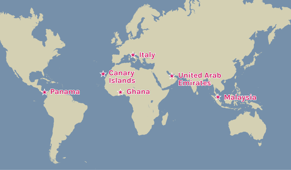 Map of Concern's warehouse locations across the world