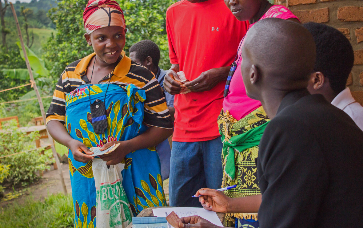 Concern Worldwide's Nijimbere Alphonsine, giving out cash transfers