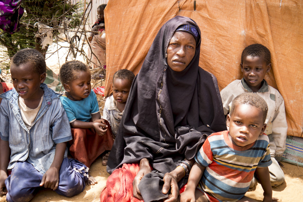 Maey Omar, 40, and her family