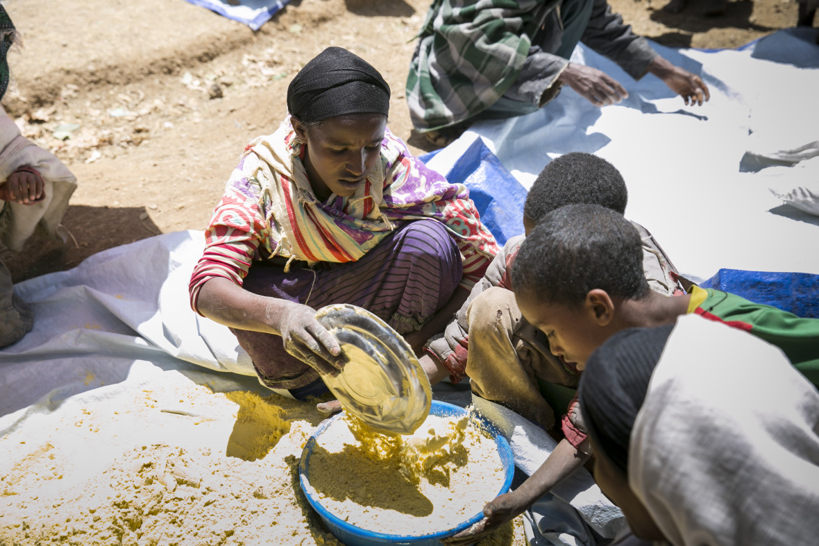 A mother and her children at a Concern supplementary food distribution in North Gonder, Ethiopia.