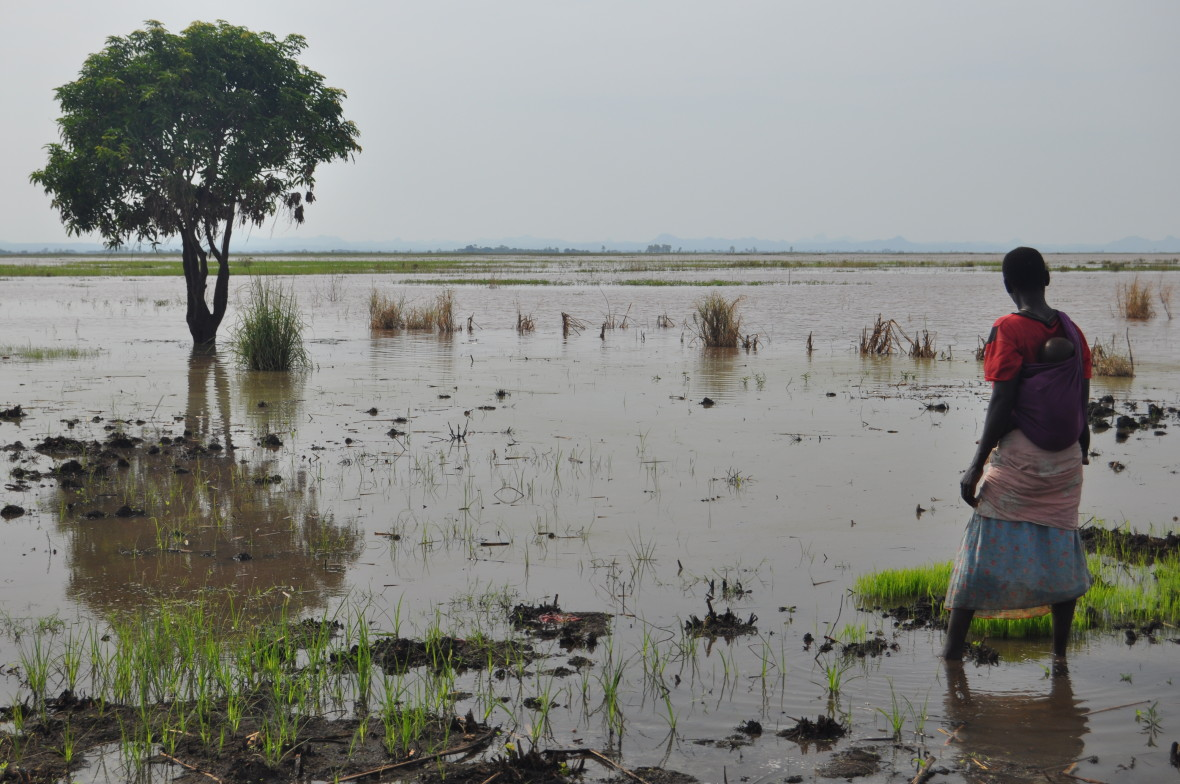 Woman stands in flood waters in Malawi