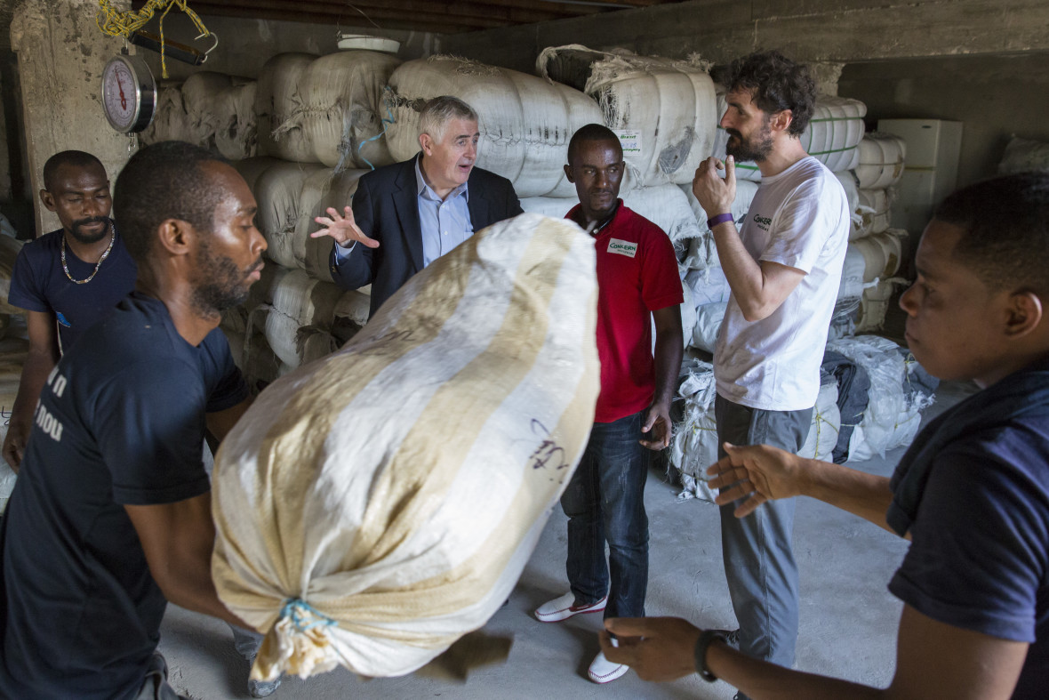 Concern Worldwide CEO Dominic MacSorley at a warehouse where essential supplies are being loaded for distribution