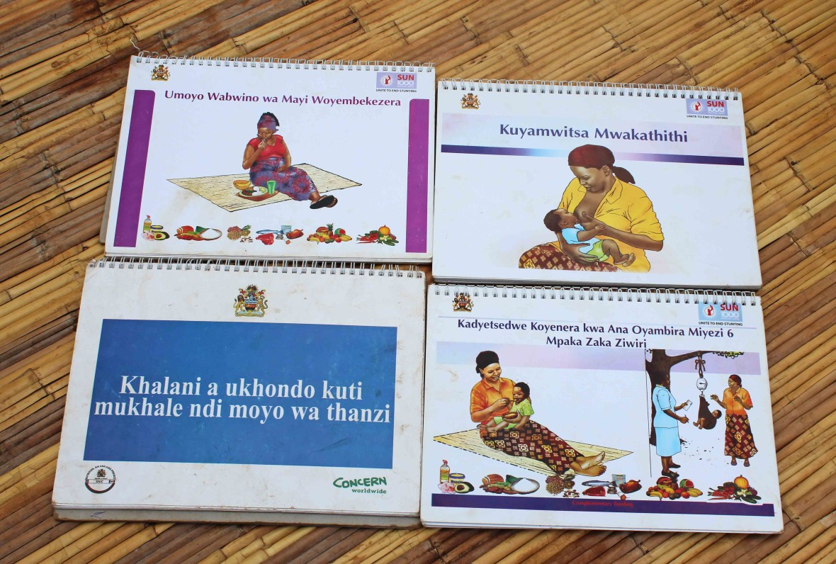 Books used to educate mothers about nurtition via the SNIC project in Malwai