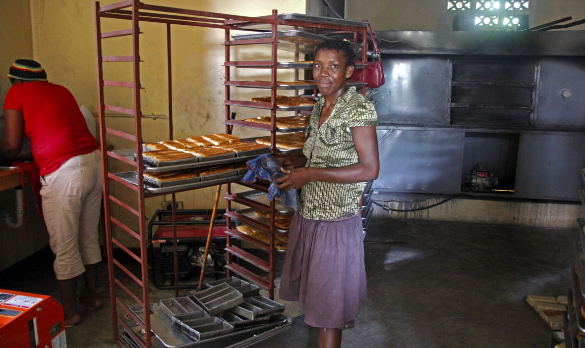 Christela Louis inside the bakery (supported by Concern) where she has worked since May.