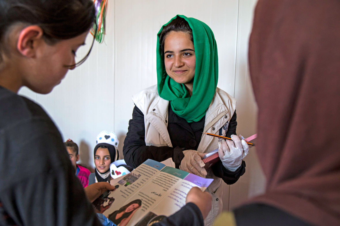 International Medical Corps hosts a health education event for children in Garmawa camp just outside Dohuk in the Kurdistan region of northern Iraq. Photo: MedCorps