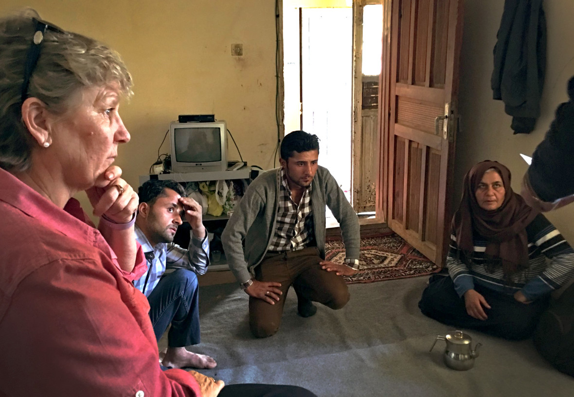 Anne O'Mahony, head of programs at Concern, speaks with Syrian refugees in Turkey. Photo: Aoife O'Grady