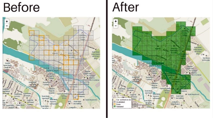 Maps of Cité Soleil before and after Concern's first mapathon event in September 2016. Photo: Ellen Ward