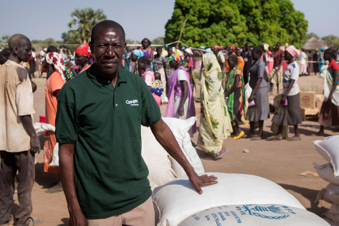 Paul Odhiambo, Concern's Emergency Coordinator, at a general food distribution