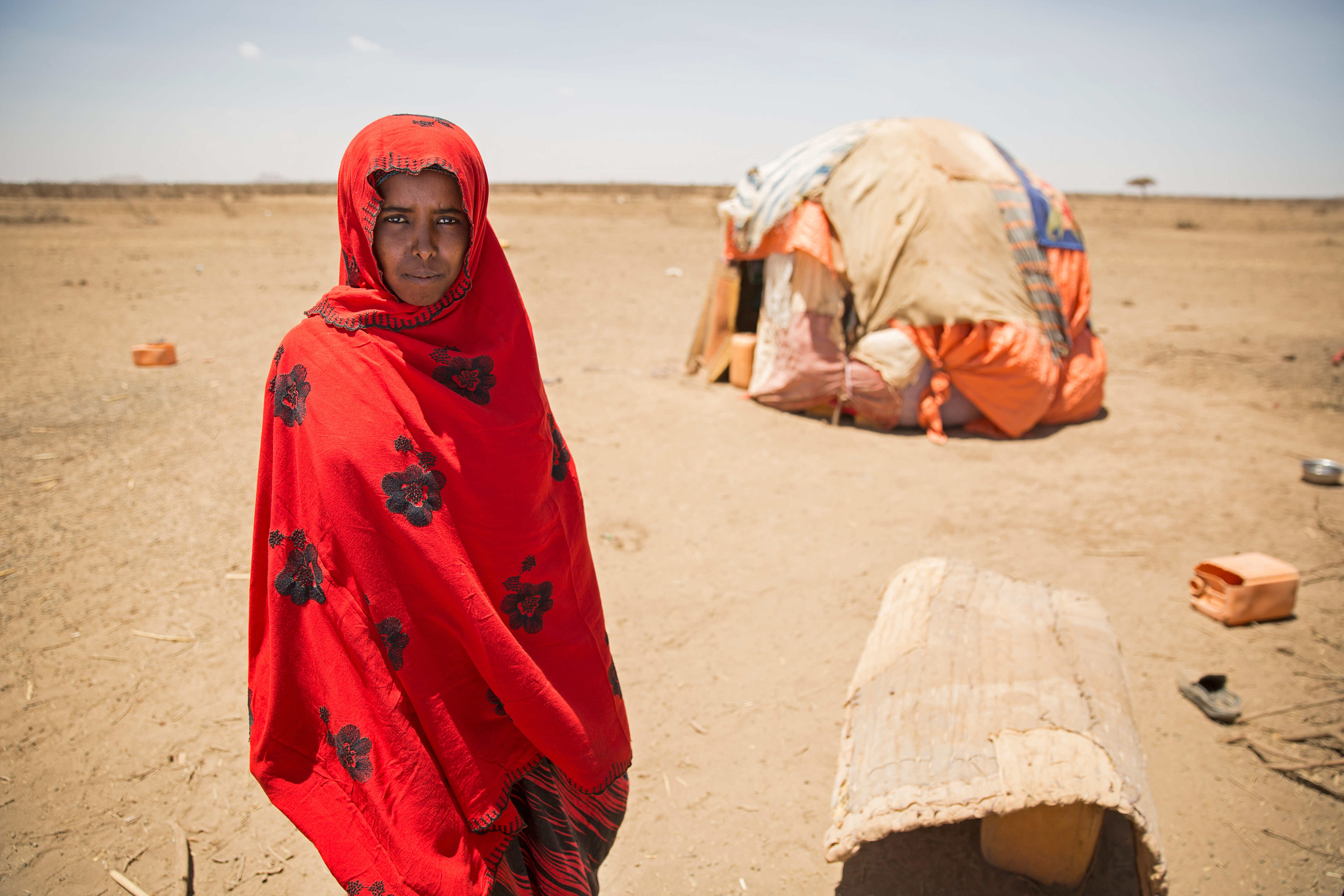 Idil Abduh, a mother of three, who left her home in Somalia in search of pasture for her livestock