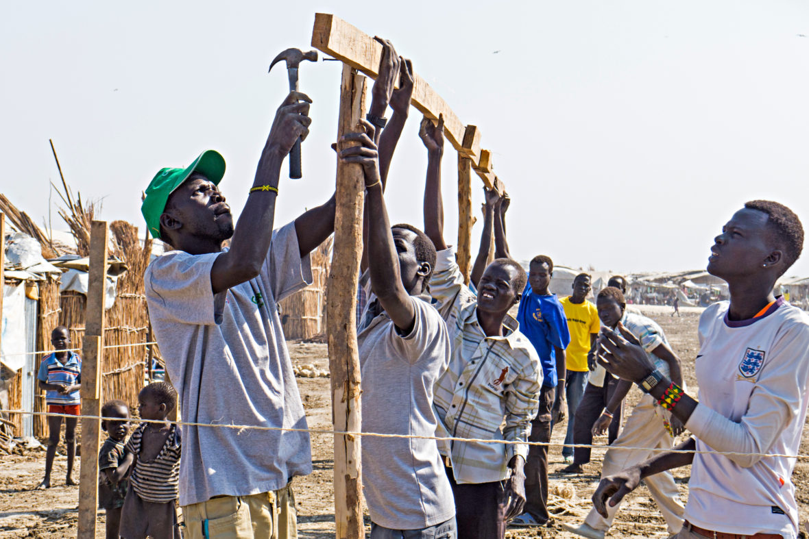 shelter construction in South Sudan