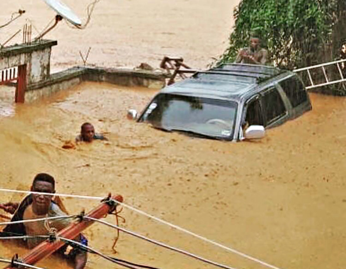 People caught in flooding in Sierra Leone