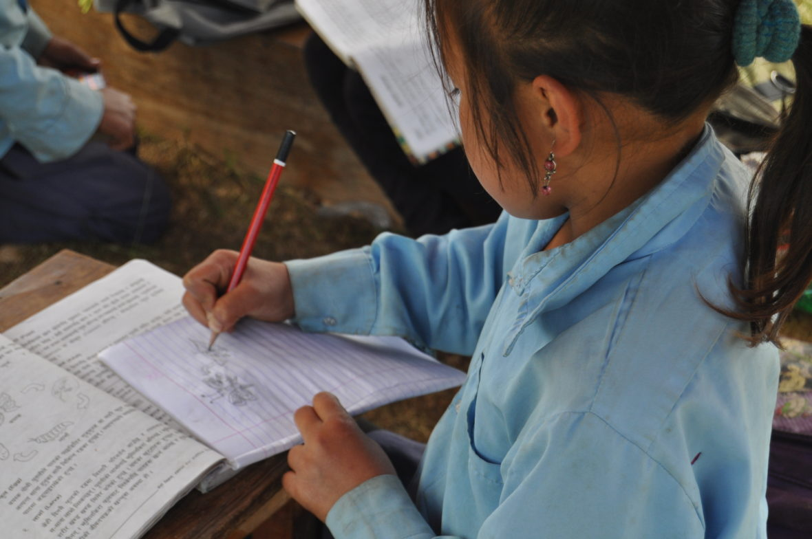 School lessons in makeshift shelters in Nepal