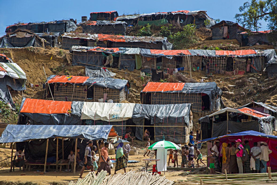 Tents on a hillside in Bangladesh