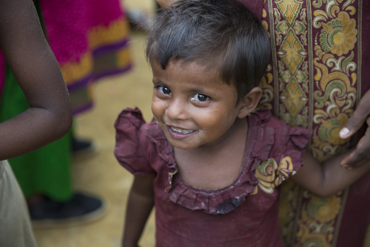 Khaleda*, a new arrival at Moynadhona refugee camp for Rohingya in Cox's Bazar, Bangladesh.