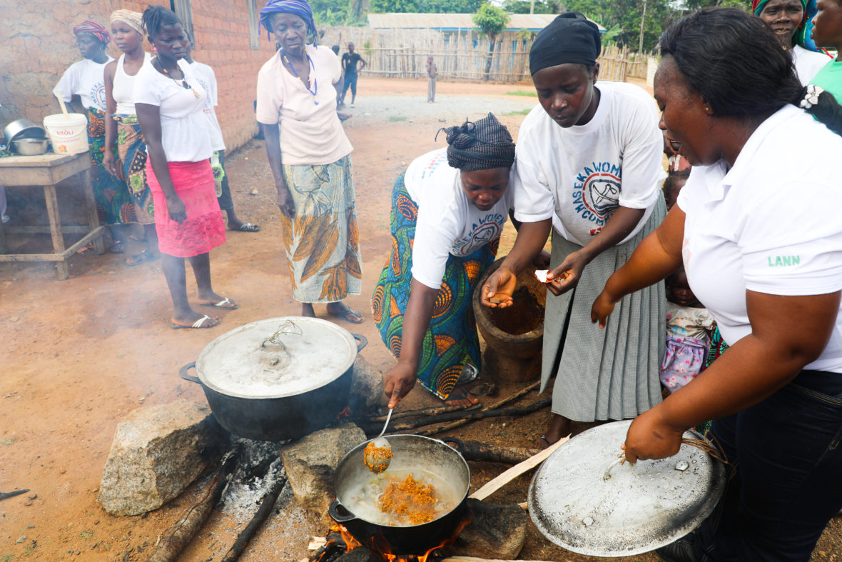 Community members cook up a feast