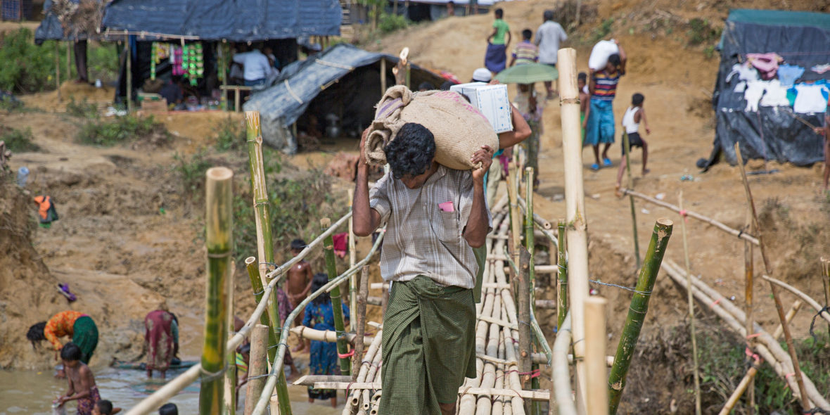 A makeshift bridge is built at a refugee camp for Rohingya in Cox's Bazar, Bangladesh