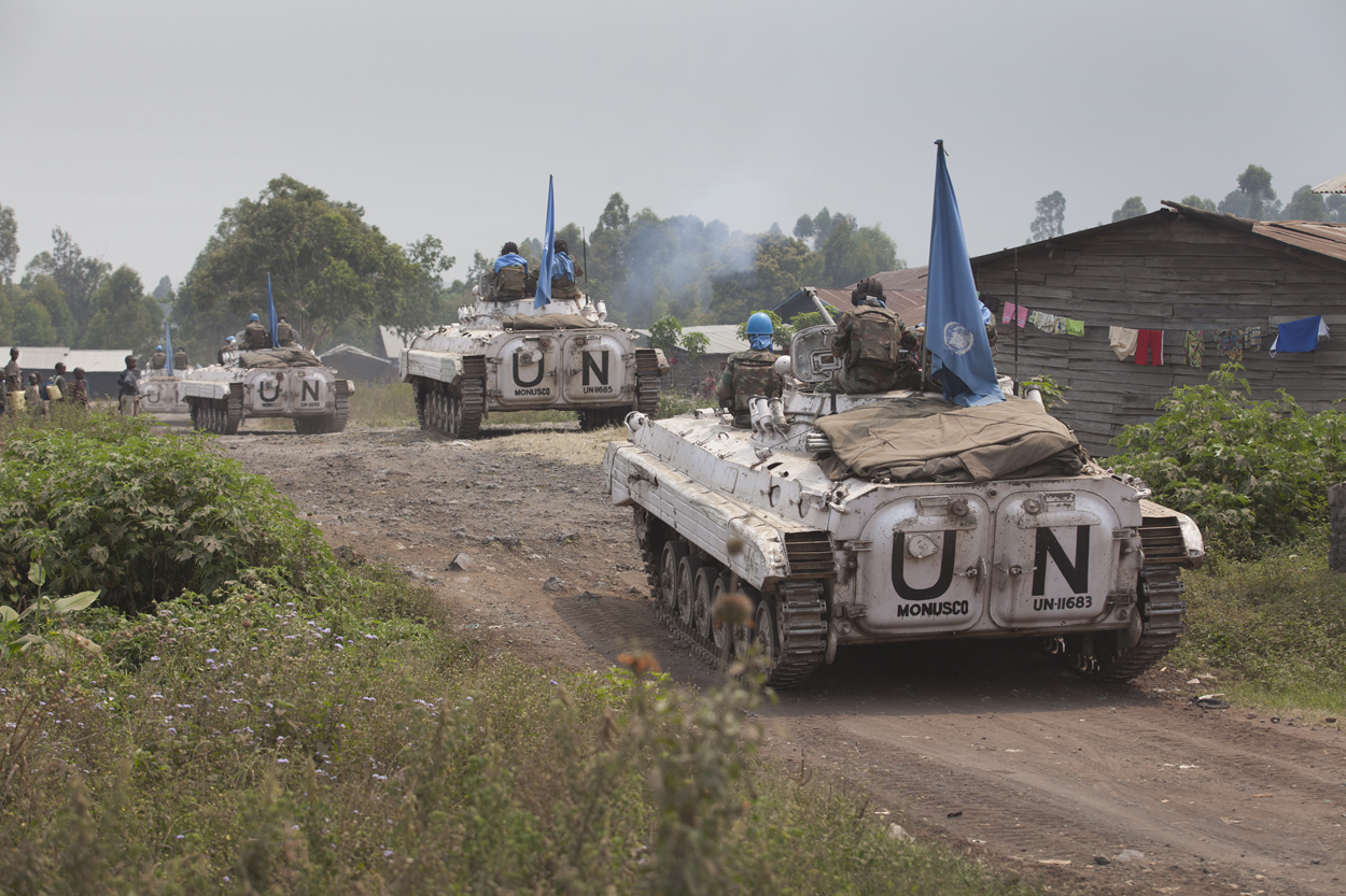 UN vehicles on patrol in DRC