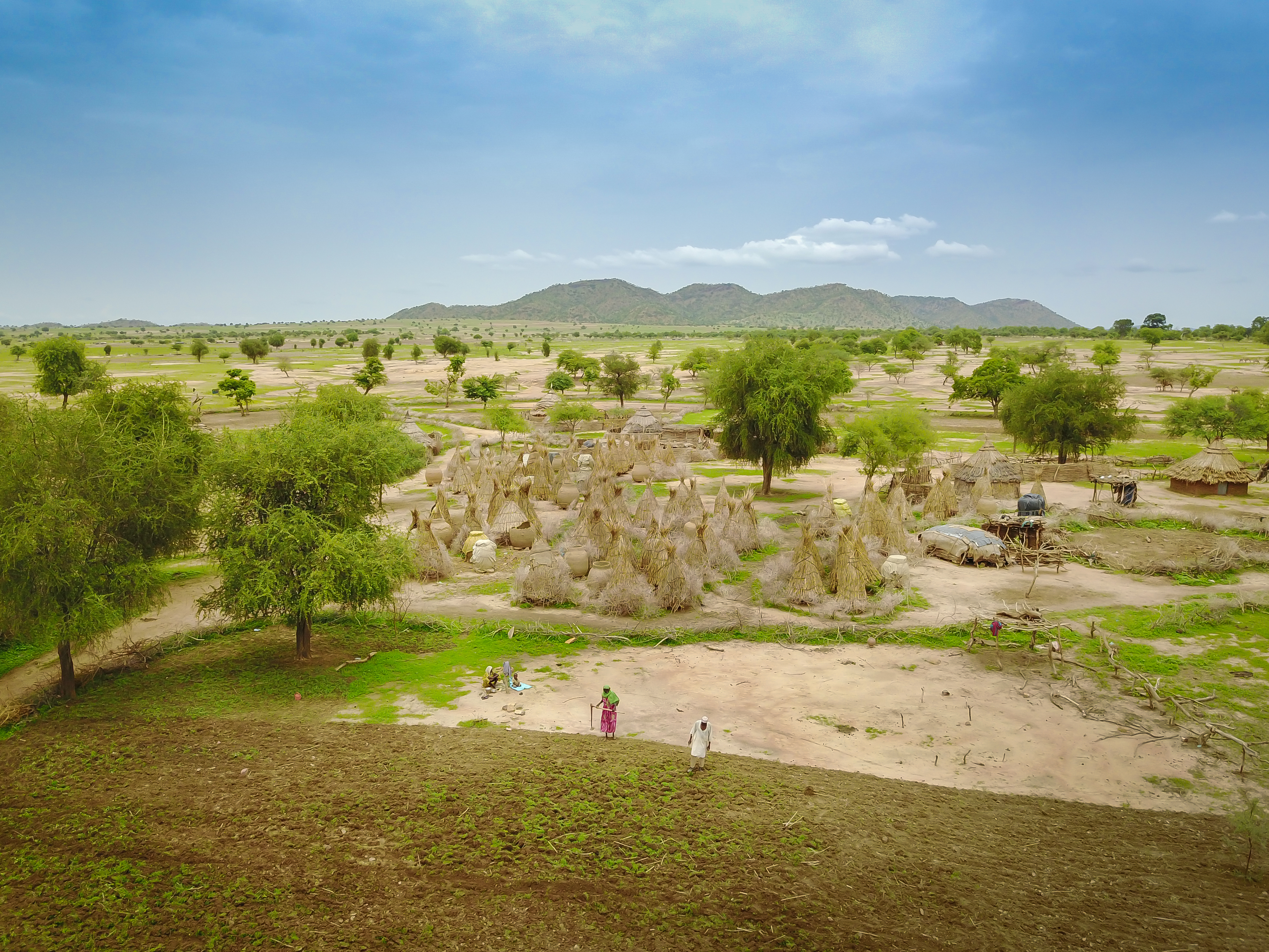 Aerial picture of agricultural landscape and village in Chad