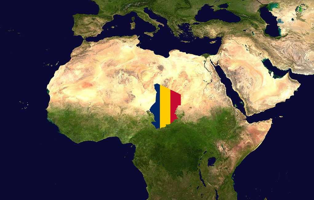 Map of Northern Africa, with Chad highlighted in the colors of its flag