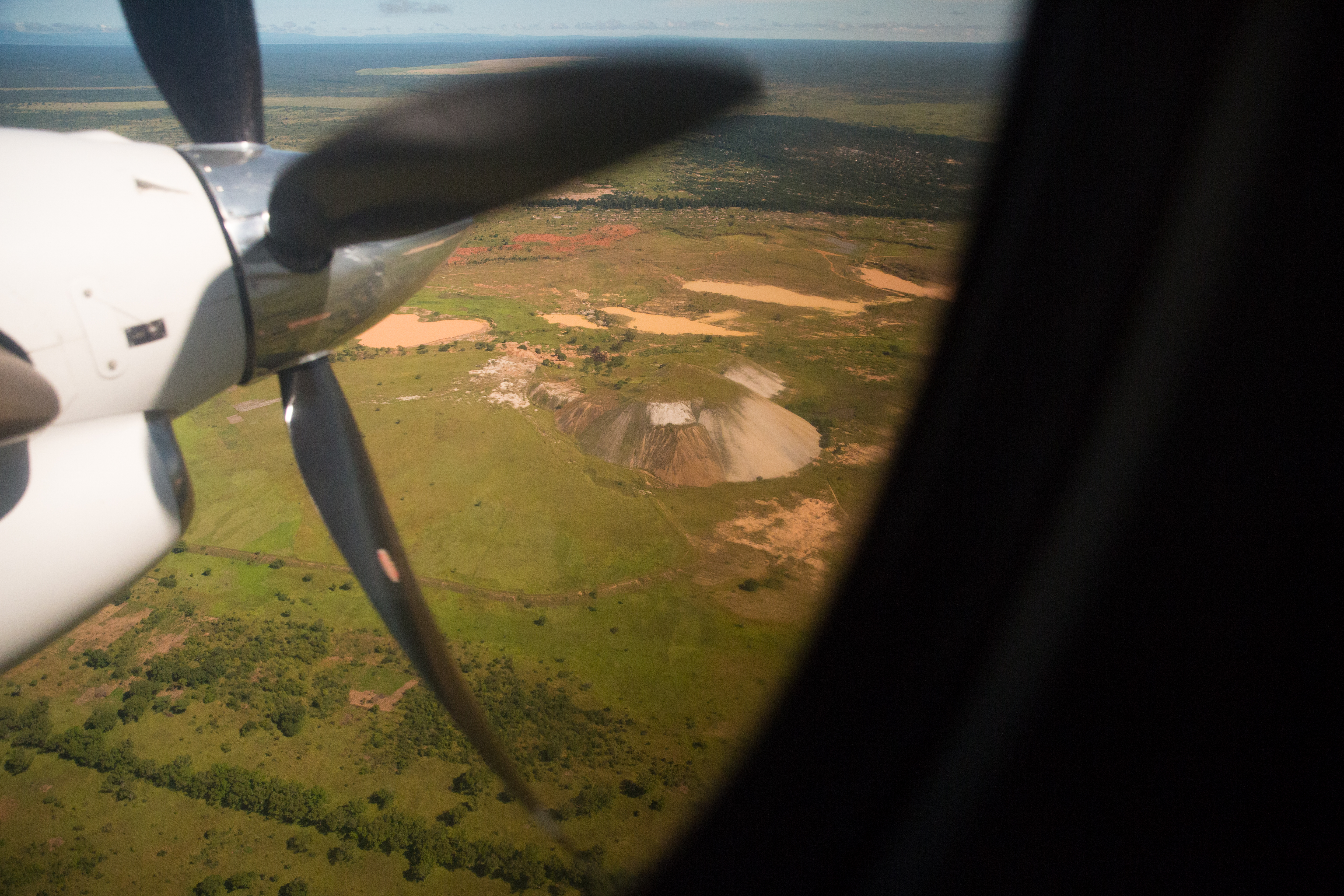 A large mine seen from a propellor plane.