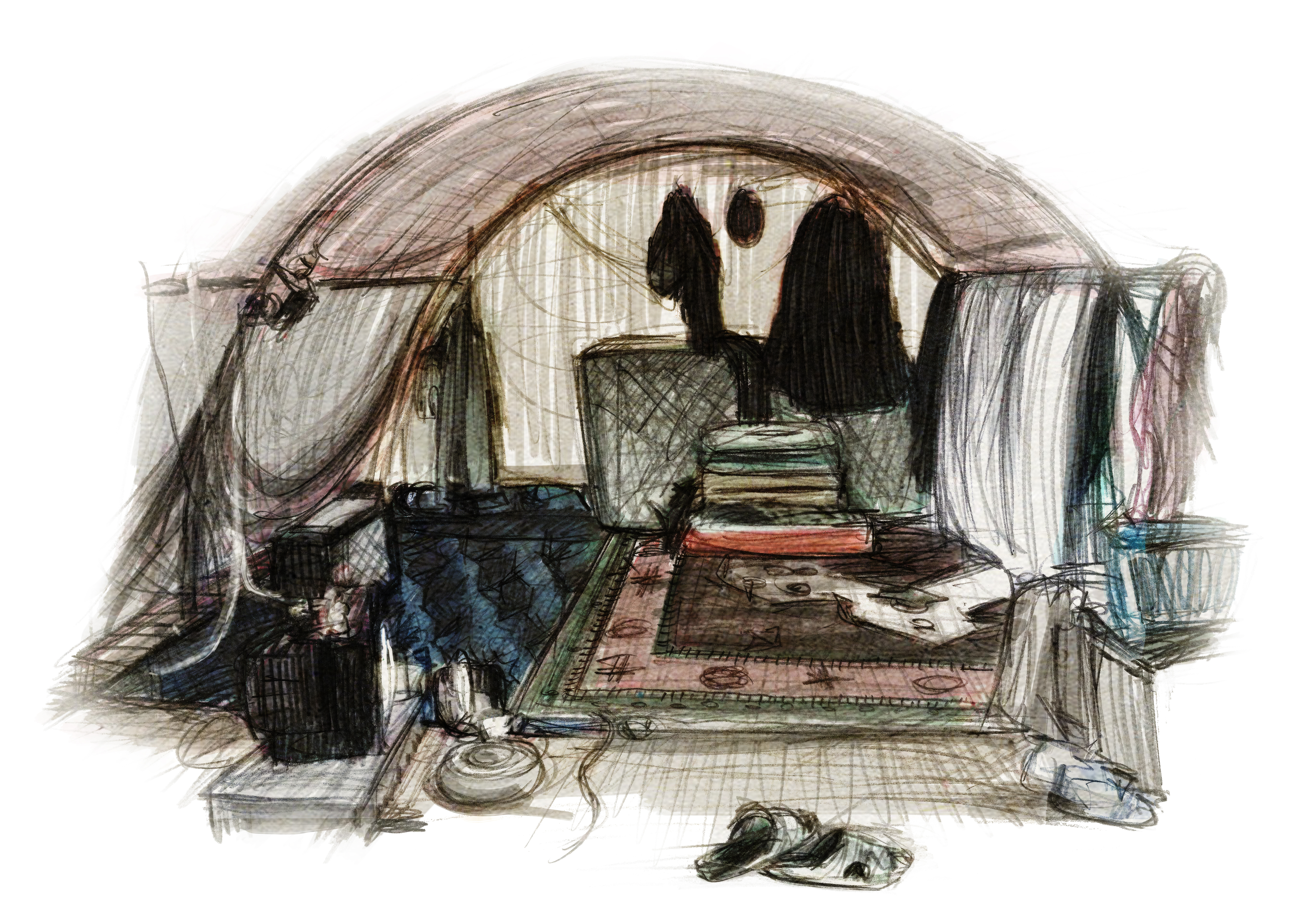 Drawing of interior of refugee tent