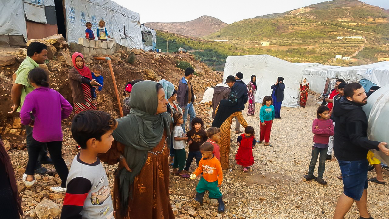 People in countryside at informal shelters, Lebanon
