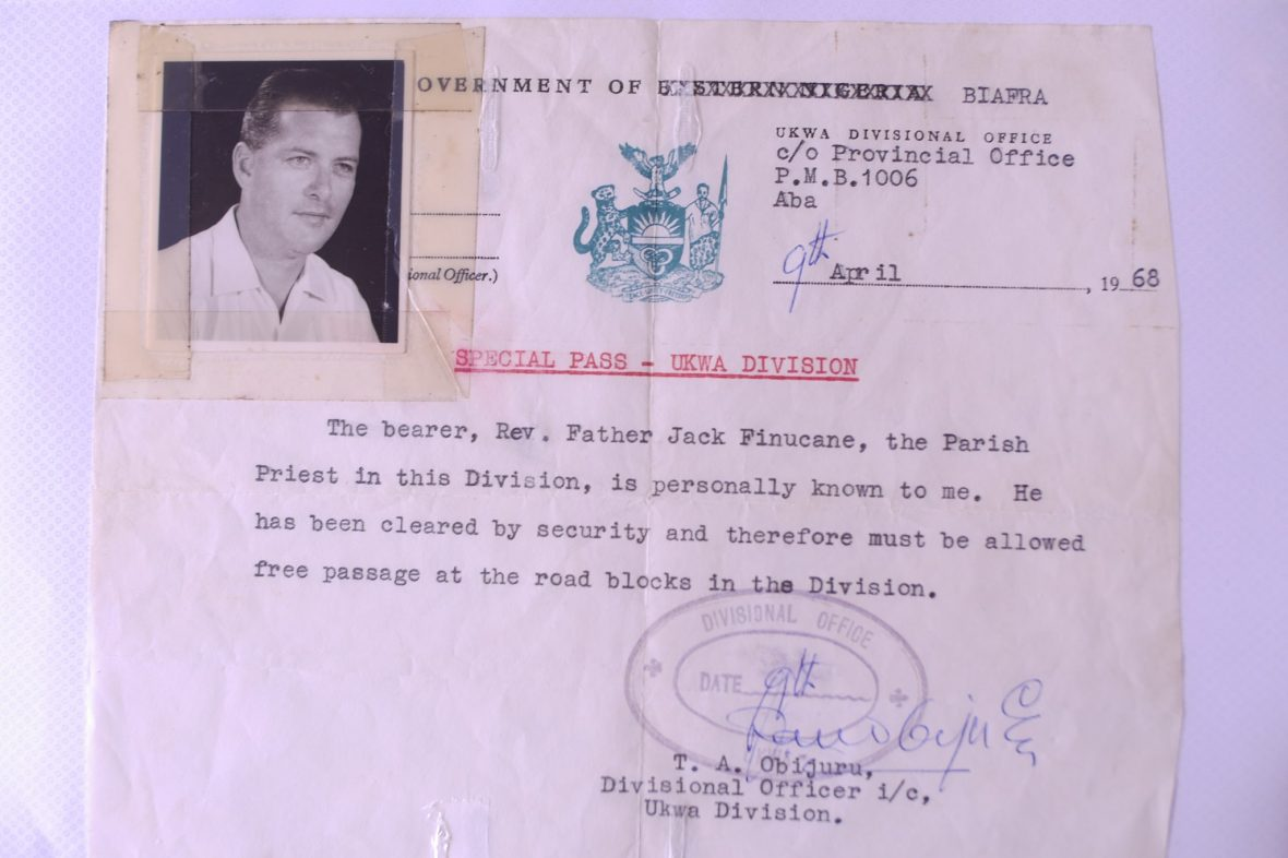 Picture of movement permit for Biafra with photo of Fr. Jack Finucane SSP