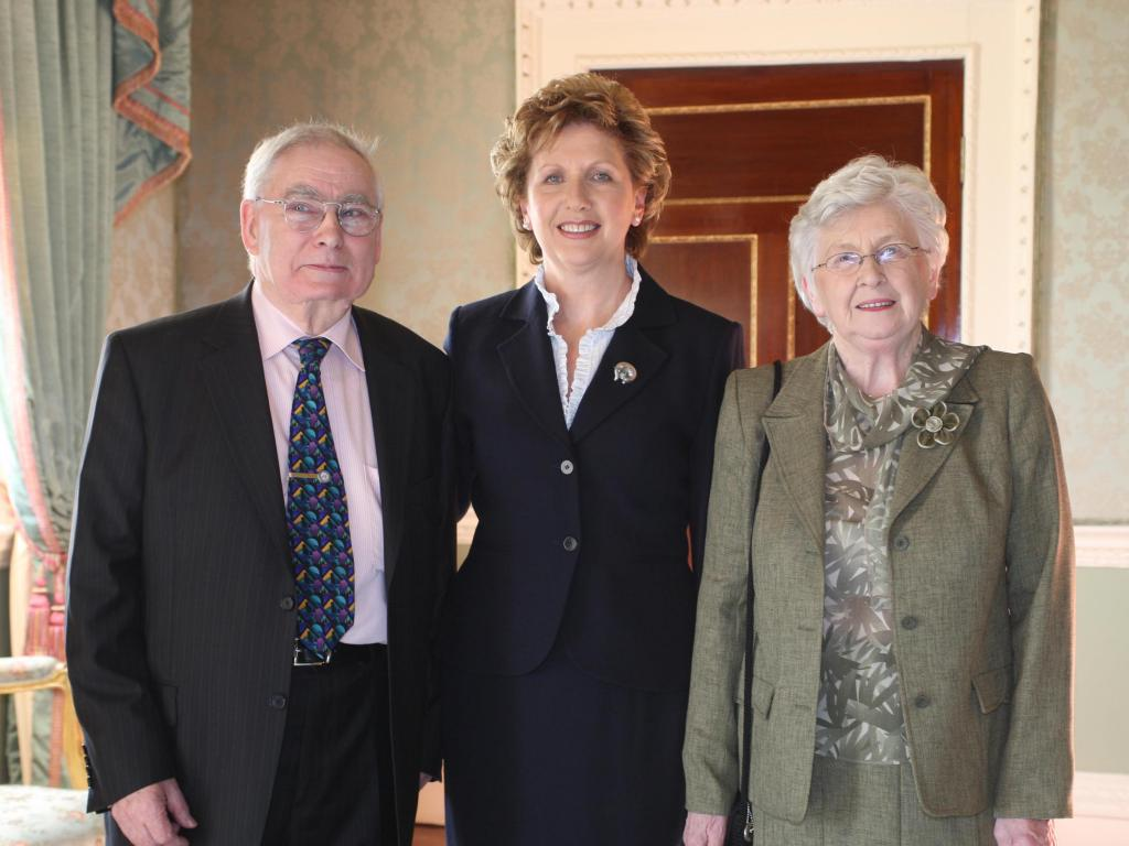 Concern Worldwide founders, John and Kay O'Loughlin Kennedy with Irish President, Mary McAleese