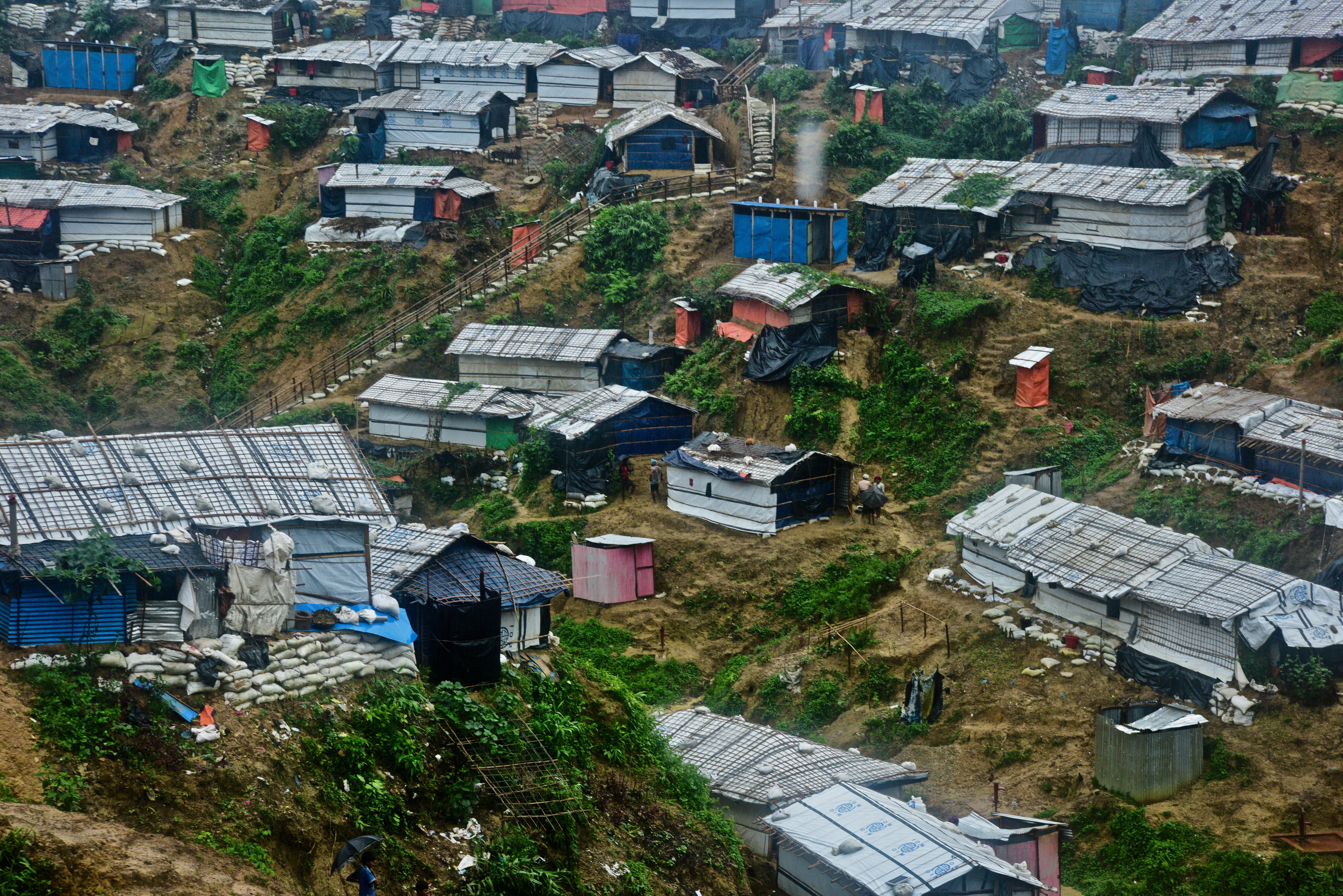 Temporary shelters on hillside