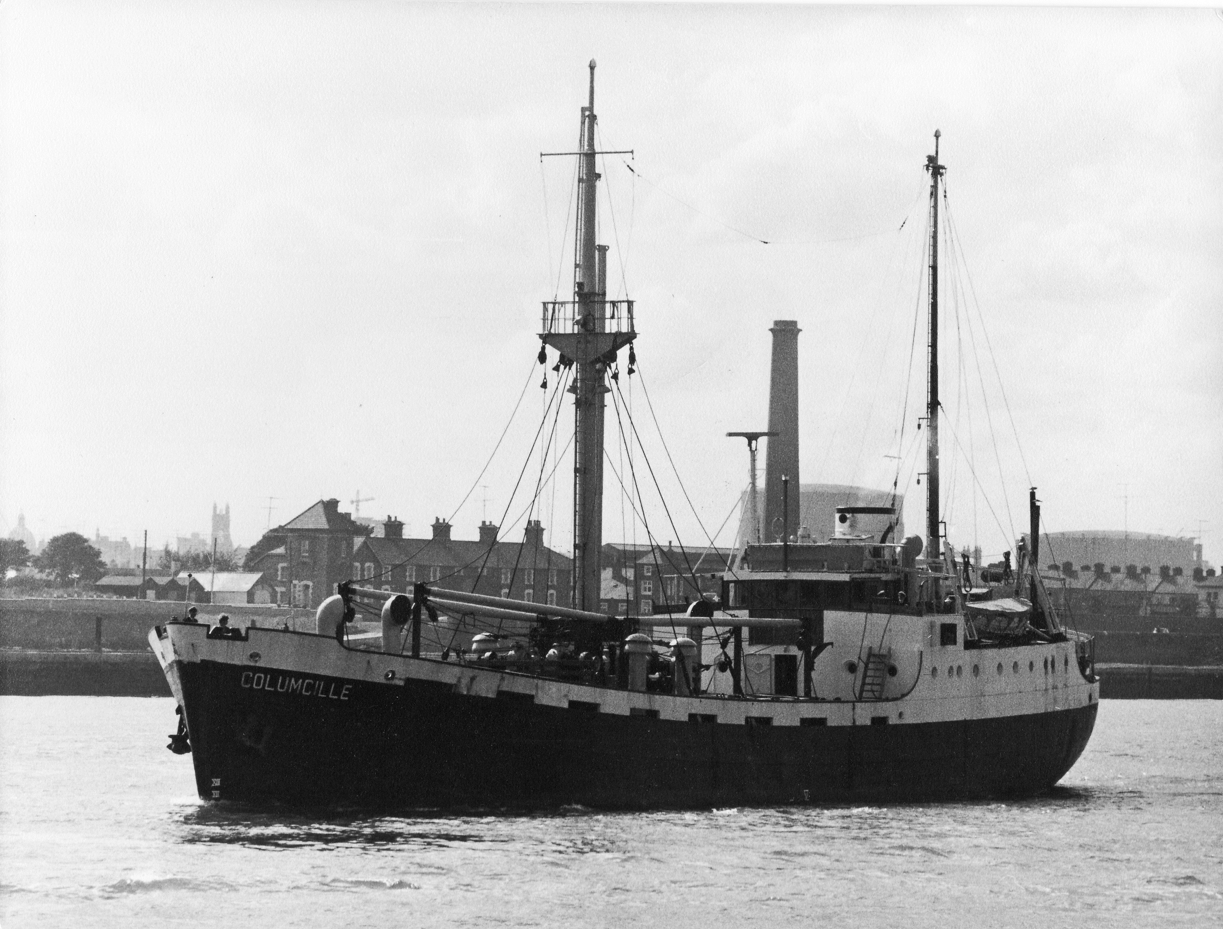 black and white of cargo ship
