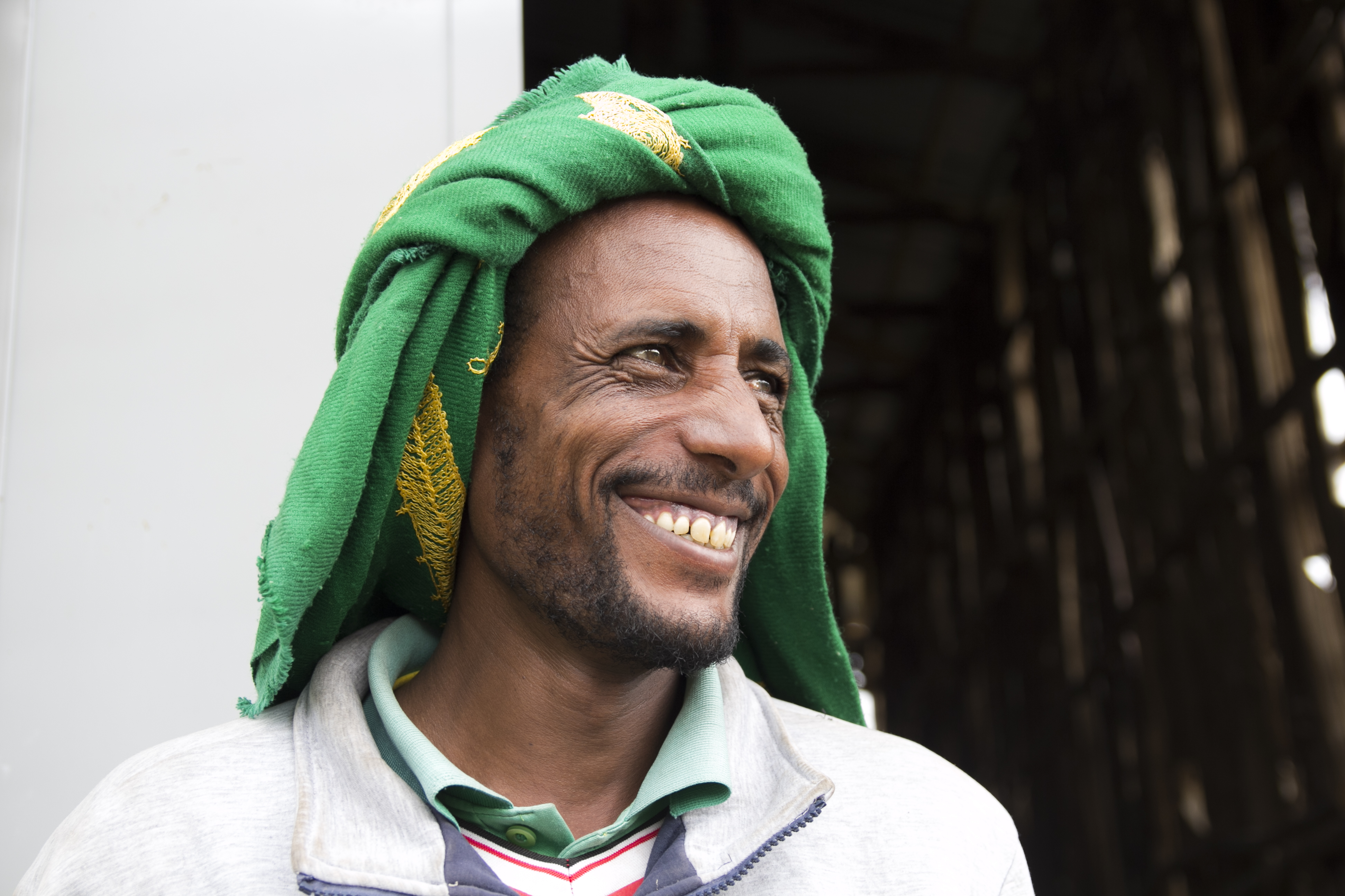 Man with Ethiopian headgear