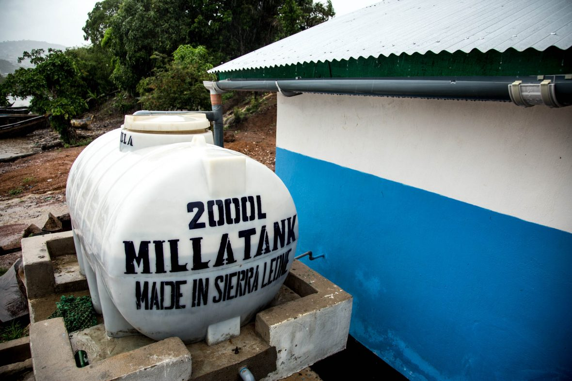 A giant tank that catches rainwater at a latrine in Sierra Leone.