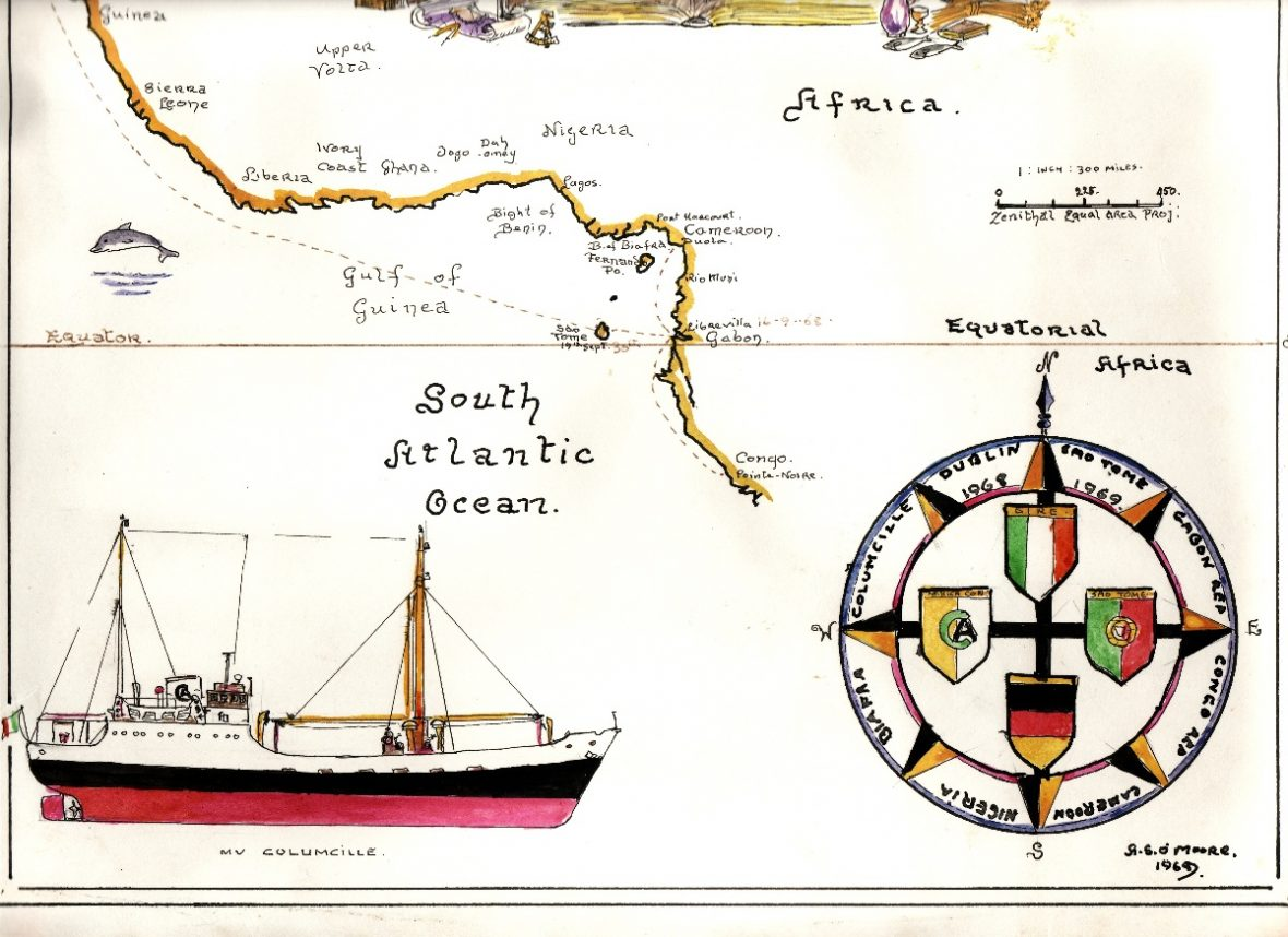 Part of a sketch by Tony O'Moore, crew member of the M.V Columcille. The sketch charts the journey of the ship from Dublin to the west coast of Africa, delivering aid from Ireland to the people of Biafra.