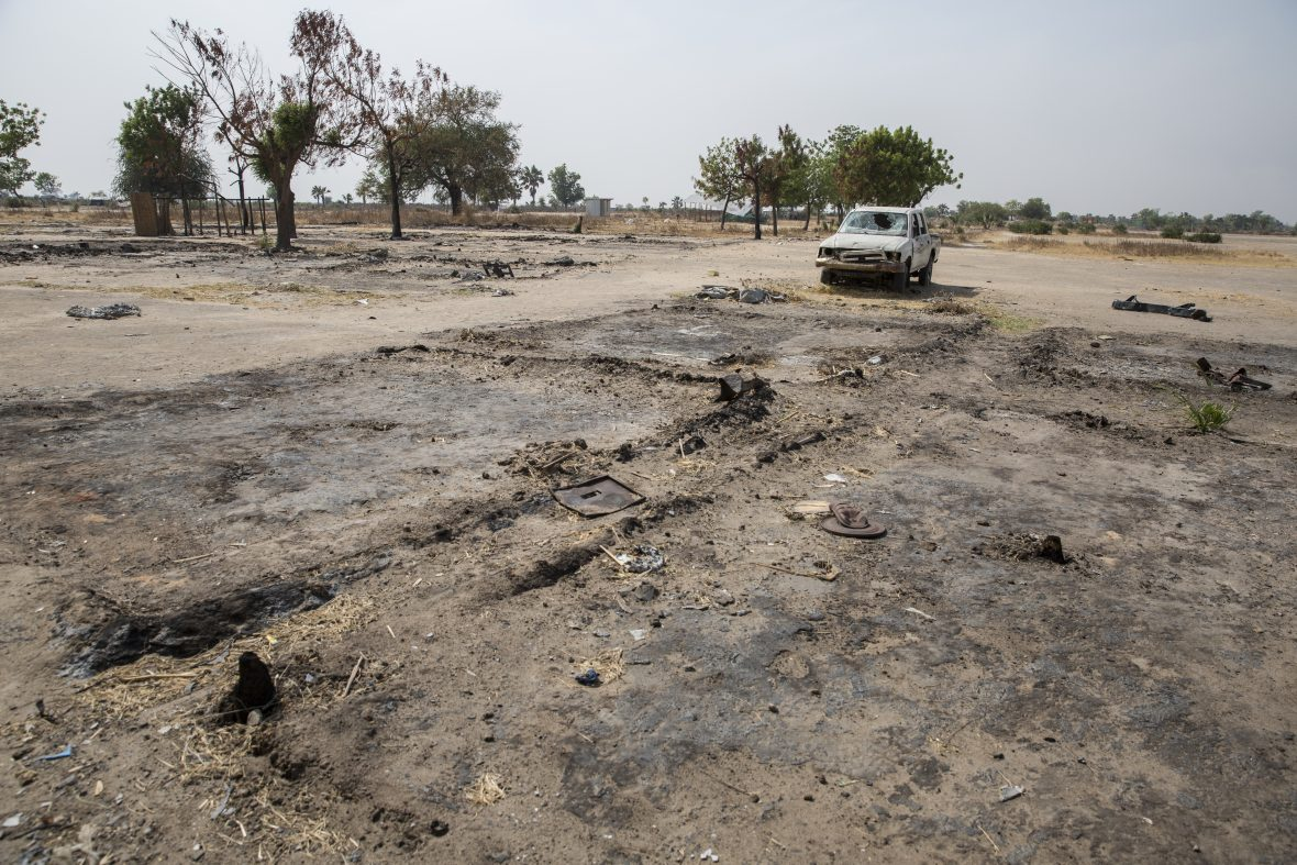 Burnt out NGO compounds at Touchriak in Unity State, South Sudan.