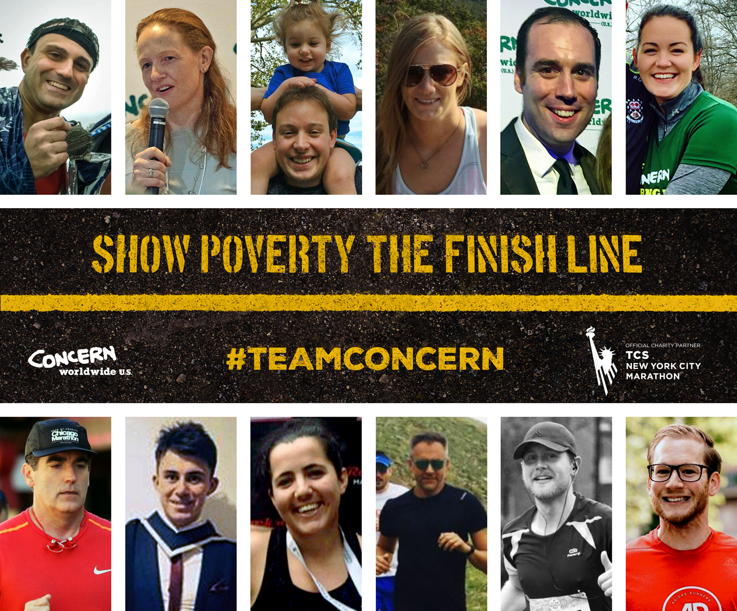 The 12 members of Concern's 2018 NYC Marathon team .