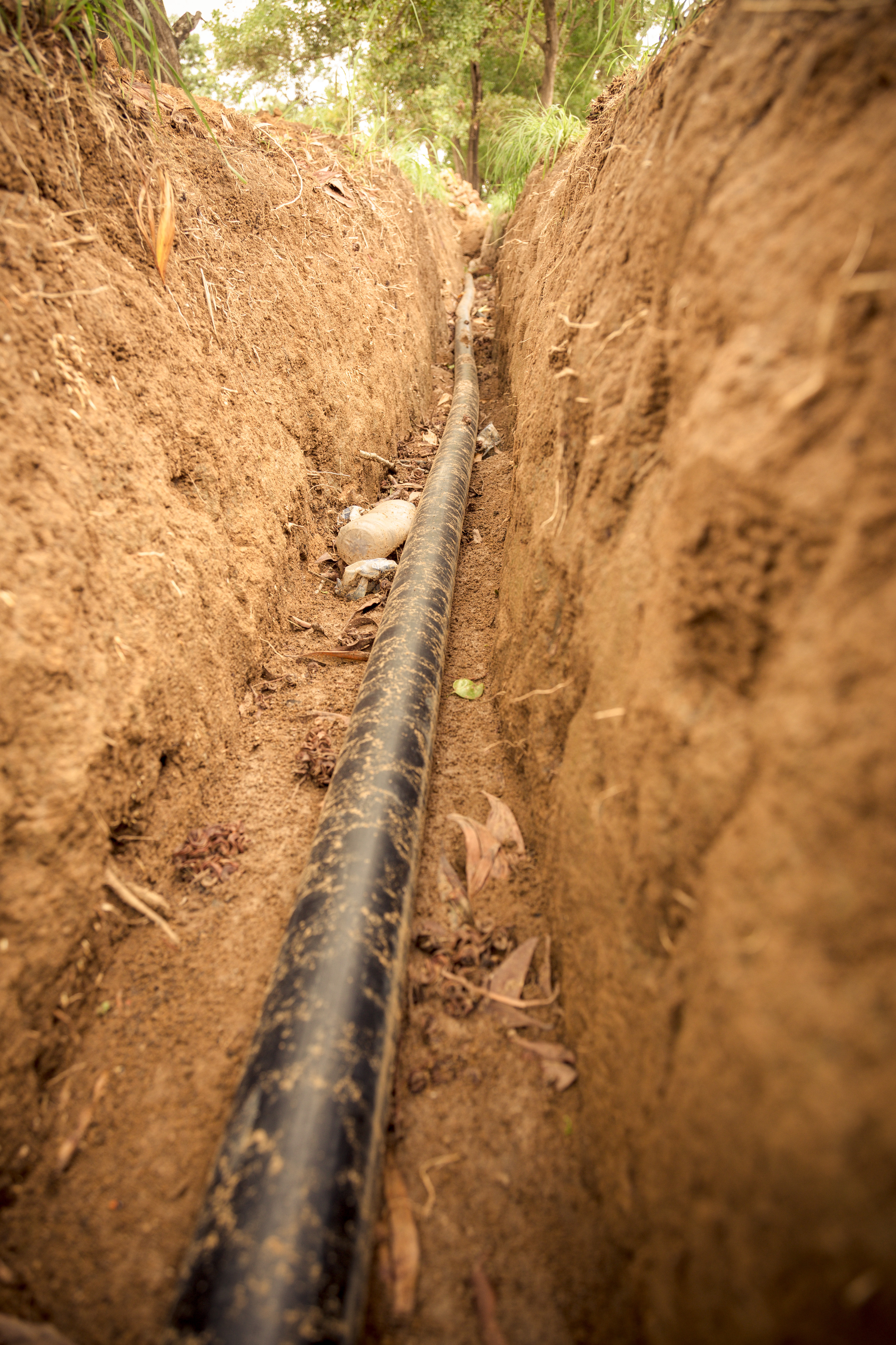 A section of a 3km water pipe extension being installed by Concern in rural Sierra Leone