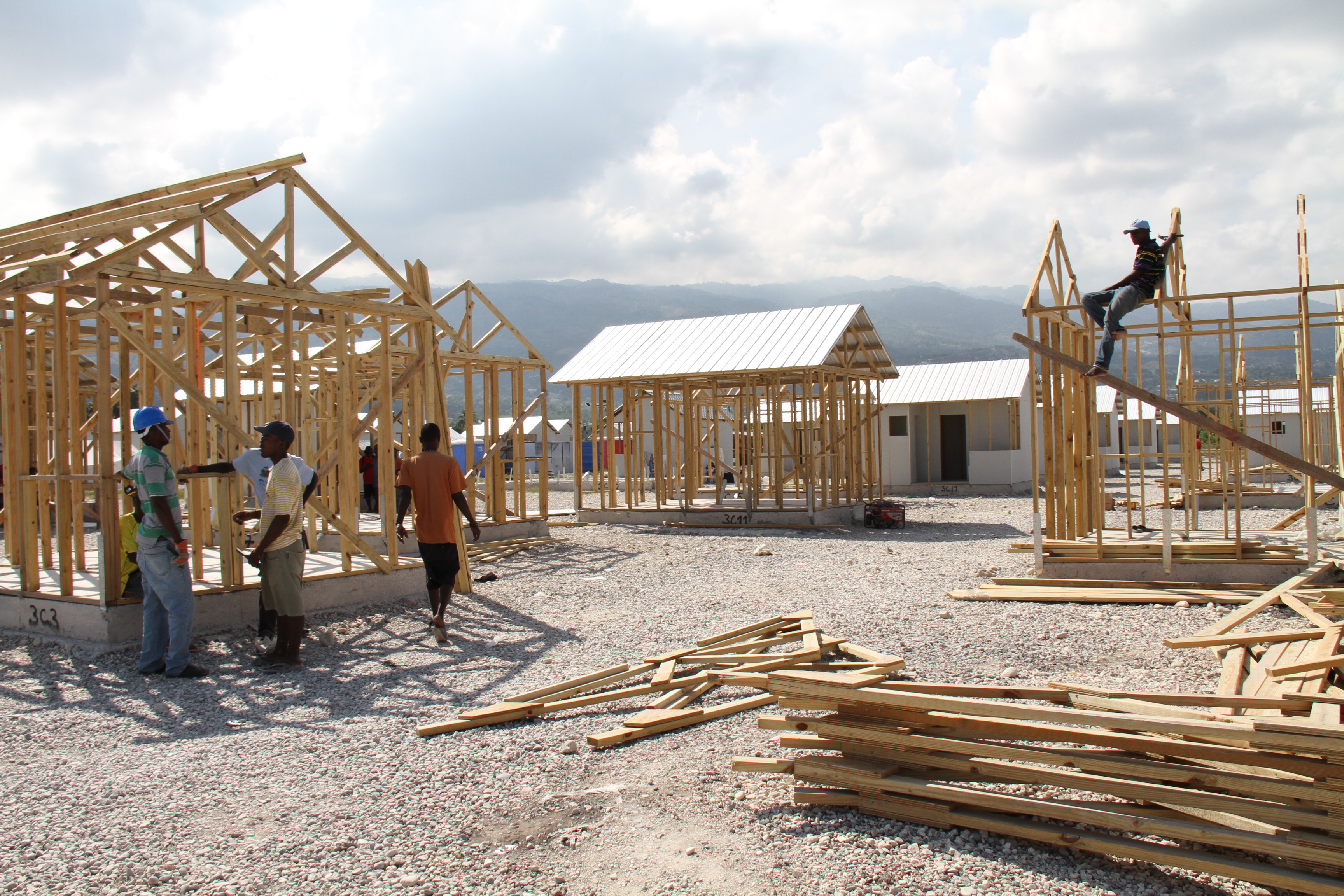Temporary homes being constructed in Tabarre Issa, Port au Prince for families left homless by the 2010 earthquake.