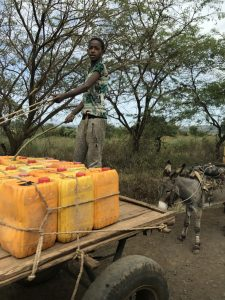 Yellow cans for carrying water in Ethiopia.